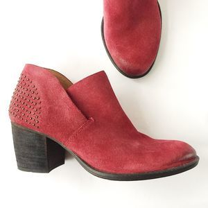 Naya Red Suede Ankle Bootie Studded 7.5